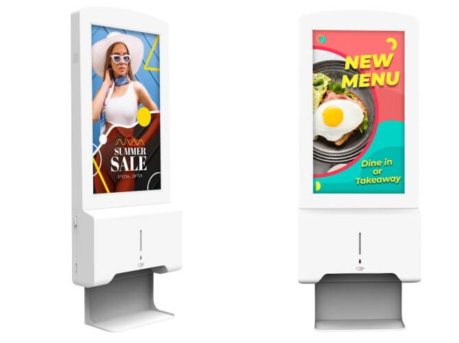 android hand ontsmettingsstation reclame display
